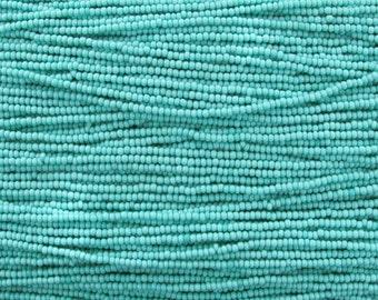 11/0 Opaque Green Turquoise Czech Glass Seed Beads 12 Strand Hank (AW125)