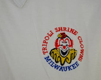 Vintage TRIPOLI SHRINE CLOWNS Milwaukee polo shirt xl 1970's 80's