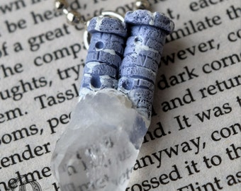 Snowy, Lavender Towers -  Polymer Clay and Quartz Crystal Necklace