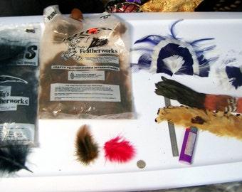 Assorted Feathers Clearance sale lot - estate sale- black brown pheasant blue white hair accessory fluff - destash barret hat  grab bag %H10