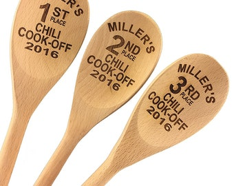 Chili Cook Off Custom Engraved Wood Spoon Prizes (Set of 3) - 14 inch- Chili,Chili Cook-off,Cook off,Prize,Contest,event prize - 901002