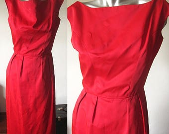 Vintage 50s Solid Red Sleeveless Wiggle Dress Size 0/XXS