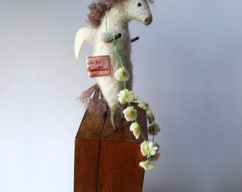 Original needle felted animal Pegasus with Daisy Chain