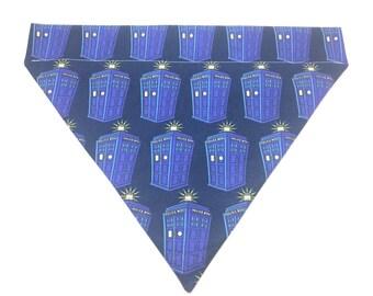 Pet Accessory - TARDIS Police Call Box - Over the Collar - Custom - Bandana, Bow Tie, Neck Tie, Flower