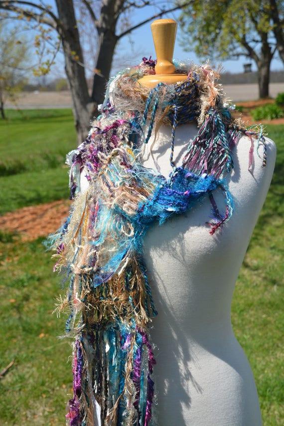 Hand knit Fringed Shawl, Ribbon scarf, poncho, pastel shawl, Fringed Knit Scarf for women, long scarf, boho wrap, satin scarf