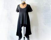 Long Black Top Women's Art Clothing Duster Tunic Low Scoop Neckline Stevie Nicks Clothes Reconstruct Shirt Stretch Boho Top S M 'DANIELLE'