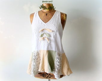 Women's Linen Tank Shabby Lace Top Country Clothing Boho Chic Blouse Up Cycled Shirt Mori Girl Fashion White Summer Top Eco Clothes M 'KERRI