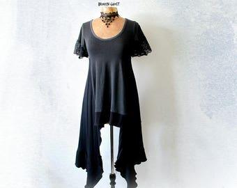 Long Black Top Women's Art Clothing Duster Tunic Low Scoop Neckline Stevie Nicks Clothes Reconstruct Shirt Stretch Boho Top S M 'DANIELLE'