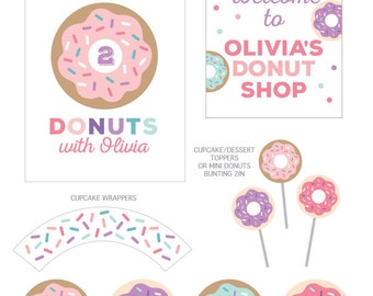 Donut Party Decorations, Donut Birthday Party Decor, Donut Theme, Donut Shoppe Party Kit