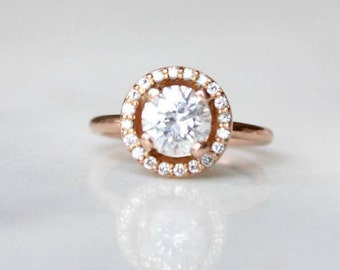 Rose Gold Diamond Engagement Ring | Round Cut Halo Wedding Ring | 14k Rose Gold Anniversary Ring [The Mia Ring]
