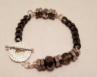 Hex nut and chain bracelet