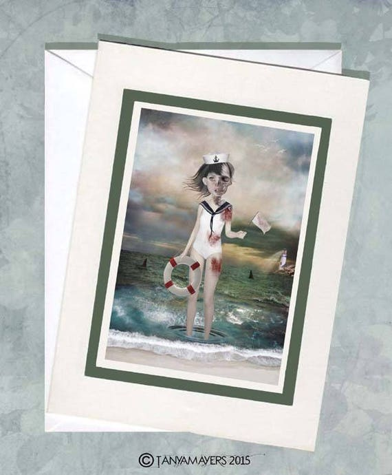 Sailor Girl Greeting Card - Sailor Girl & Sharks -Blank Card - Art Greeting Card - Last Chance