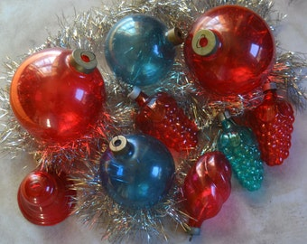 Vintage Unsilvered Glass Christmas Ornament Collection
