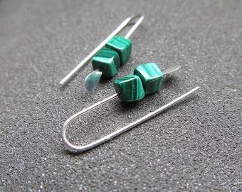 emerald green earrings. malachite jewelry. small stone earings. Canadian seller.