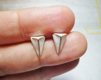 White Triangle Stud Earrings, Dainty Earrings