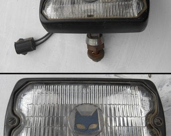 80s Sev Marchal fog light car part Made in France 750 759 with black cat logo on lens industrial found object supply auto restoration