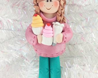 Baker Christmas Ornament - Cupcake Baker's Gift - Cupcake Baker Ornament - Cupcake Baker Birthday Gift - Polymer Clay Baker Ornament - 315