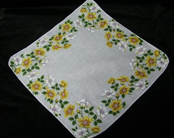 "Vintage UNUSED 12"" Yellow  Floral Wedding, Bridesmaid Handkerchief or Doily, 9820"