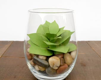 Paper Succulent in Glass Vase