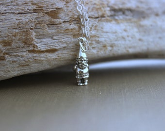 Gnome necklace - Sterling silver garden gnome necklace - Sterling silver cable chain - simple necklace - single charm - folklore necklace
