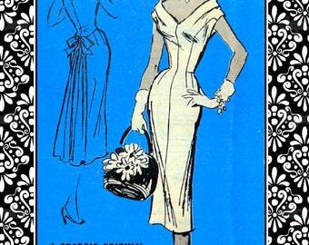 Vintage 1950s-SEXY DESIGNER COCKTAIL Dress-Sewing Pattern-Plunging V Neckline and Back-Flirty Off Shoulder-Fan Tail Back-Bow-Size 18-Rare