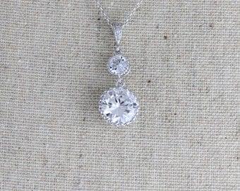 Wedding necklace, Crystal Bridal necklace, Bridal jewelry, Pendant necklace, Cubic zirconia necklace, Bridesmaid jewelry, Crystal drop