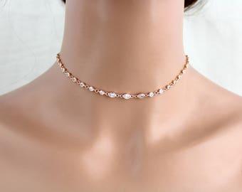 Dainty choker necklace, Rose gold choker necklace, Simple choker, Bridal jewelry, CZ choker necklace, Layering necklace, Bridal necklace