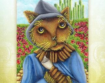 Wizard of Oz Cats, Scarecrow Cat, Emerald City Yellow Brick Road, 5x7 Art Print
