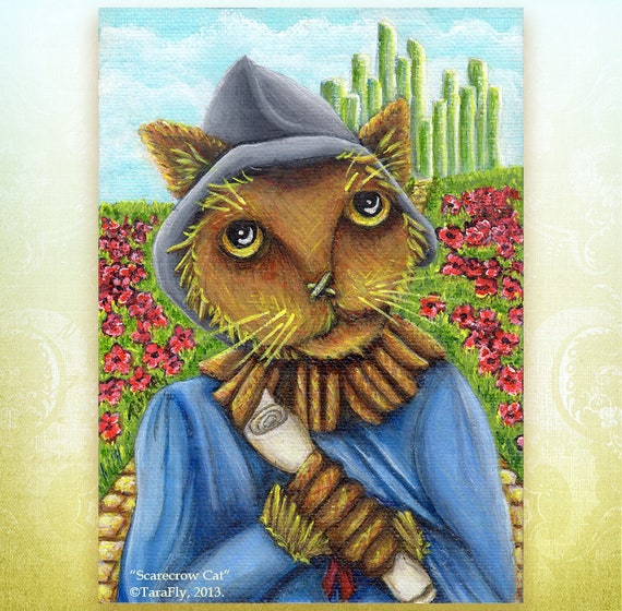 Scarecrow Cat Wizard of Oz 5x7 Fine Art Print