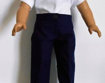 School uniform navy blue pants with white polo shirt fits American Girl or boy