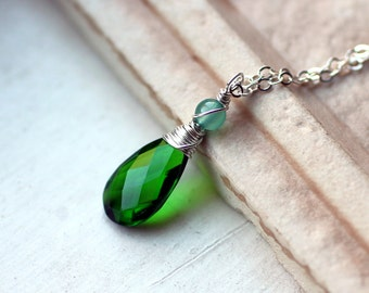 "Emerald Green Quartz Necklace, Fluorite, Sterling Silver - ""Eden"" by CircesHouse on Etsy"