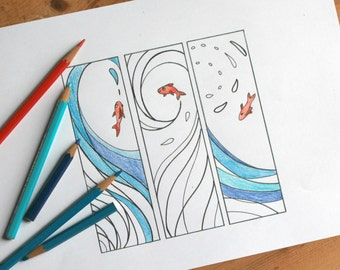 Fishes and waves coloring bookmarks digital download