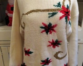 Vintage Ugly Christmas Sweater - Poinsettias? - Metallic Gold Design -  Sz Women M - Same Day Ship - Ugly Sweater Christmas Party - Crewneck