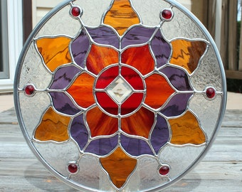 Round Stained Glass Panel in Reds, Amber and Purple