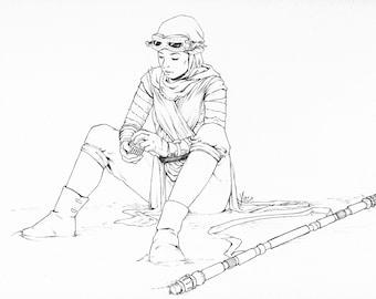 Star Wars - Rey Original Ink Drawing