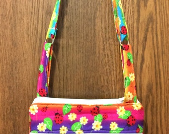 Rainbow Lady Bugs - Adj Strap, Hipster, Purse, Shoulder Bag, Across Body, Hands Free, Zippers