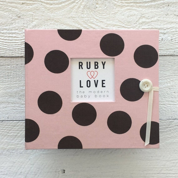 Pink and Brown Large Polka Dot   BABY BOOK