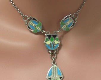 Arts & Crafts SS Peacock Enamel Necklace c 1900, Arts and Crafts Sterling Silver Blue Green Enamel Pendant Necklace, Art Nouveau Jewelry