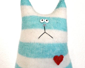 Stuffed Animal Cat Doll - Felted Cashmere Cat - Striped Cat - Cat Lover Gift - Soft Cat Doll - Soft Toy Cat - Handmade Toy cat - Teal Kitten