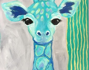 """Giraffe painting for Child's Room, Cute Baby Giraffe in Blue and Green, Original 8x8 Canvas Painting, """"Romeo"""" Boy's Room Decor, Cute Animal"""