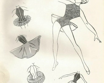Vintage Marie Pellico Designs 400 Childs Theatrical Dance Costume, Tutu, Leotard, High Low Skirt Sewing Pattern Size 6