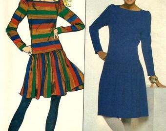 Vintage Butterick 4490 Misses Drop Waist Dress with Bateau Neckline Sewing Pattern Size 12 Bust 34