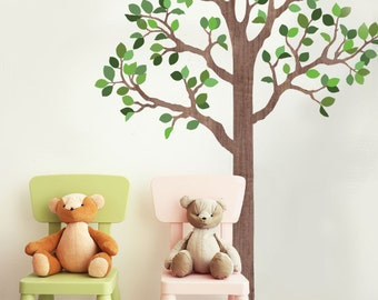 Large 7 Ft Woodland Tree Fabric Wall Decal, Removable and Reusable Eco-friendly Wall Stickers