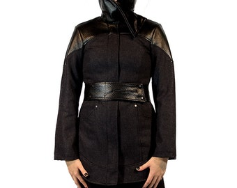 SALE: Phoenix, highly tailored avantgarde winter coat with asymmetrical neckline by Plastik wrap.