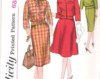 Simplicity 3673 UNCUT 1960s Mad Men Two-Piece Dress Vintage Sewing Pattern Sizes 14 16 Wiggle Skirt Three Quarter Sleeves