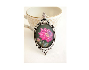 dahlia flower necklace, vintage postage stamp 1982 Vietnam, pink dahlia necklace,