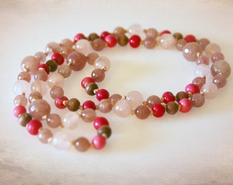 Pink and Mauve Bohemian Necklace - Gemstones and Acai Beads. Hand Knotted. Extra Long. Optional Earrings