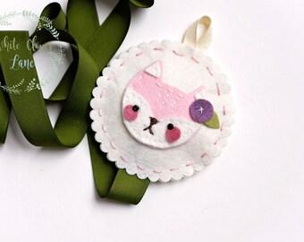 Little Fawn Bow Holder - Woodland Deer - Felt Nursery Room Decor Pink Olive Cream - Hair bow holder