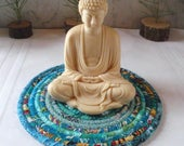 Turquoise Bohemian Coiled Hot Pad, Trivet, Candle Mat - Small Round - Handmade by Me