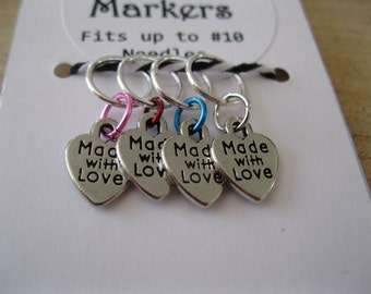 Heart Stitch Markers, Set of 4